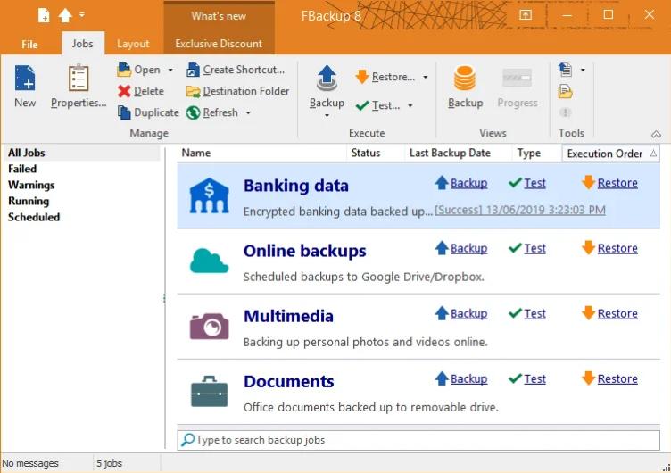Interface da última versión de Fbackup aplicación gratuítas para copias de seguridade