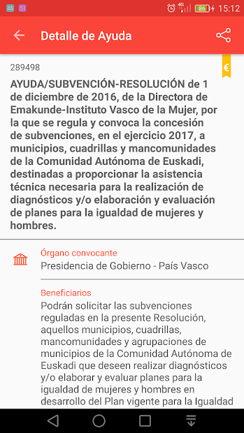 Pantalla da app Líneas de Ayuda do Ministerio de Asuntos Económicos y Transformación Digital